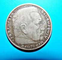 NÉMET 3.BIRODALOM EZÜST 5 MÁRKA 1936.