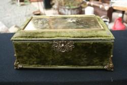 Antik rézveretes, rézbetétes dobozka