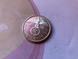 """1939""""A""""ezüst III.birodalom,horogkeresztes 5 márka gyönyörű darab"""