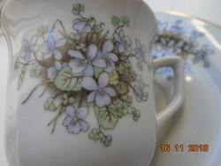 Kínai LILING porcelán ibolyás mokkás készlet-6 sz