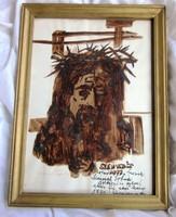 Weintrager Adolf festmény /Szenvedés/jelzett 34 x 25,5 cm 20 x 29,5 cm.