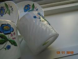 4 db Kínai virágos ,ezüst csíkos,csavart mintás, áttetsző porcelán mokkás készlet