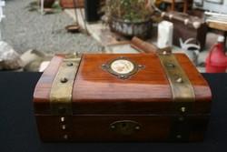 Antik rézveretes dobozka XIX. század