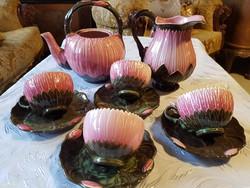 Antik zsolnay teáskészlet lotusz virág zsolnay Juliaa