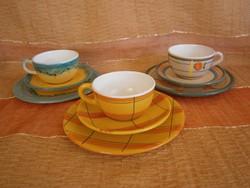 3 részes kézzel festett kerámia/majolika reggeliző készlet: teás csésze aljjal és kistányér