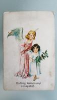 Régi karácsonyi angyalos képeslap 1921