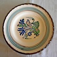 Kézzel festett Hódmezővásárhelyi kerámia falitál, tányér 26 cm átmérő, 3,5 cm mély