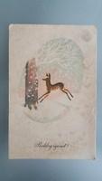 Régi újévi képeslap őzikés havas táj üdvözlőlap 1958