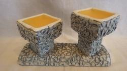 Király retro iparművész kerámia dupla gyertyatartó