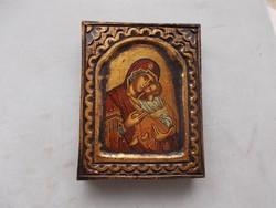 Byzant ikona fabol, aranyozott tojás tempera,135x170x28 mm