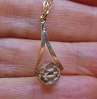 Gyönyörű 3.55ct pezsgőszín valódi gyémánt  arany nyakék