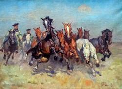 """Viski János ( 1891-1961 ) """" Vágtató ménes """""""