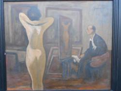 Szopos Sándor(1881-1954)Festő és modellje.Nagybányai,erdélyi festő.