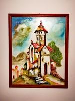 Eladó Gombor József cím nélküli, de szignózott festménye