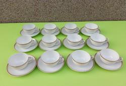 Zsolnay porcelán 12 személyes teáscsésze aljával