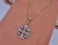 Szépséges hosszú antik 0.25ct gyémántköves arany nyakék VIDEO