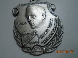 DESCHLER MÜNCHEN ,LUDWIG THOMA (1867-1921) bajor író,publicista,szerkesztő emlék medál