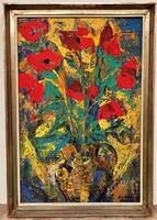 Vati József (1927-2017) Pipacs sárga kancsóbsn c olajfestménye 66x46cm Eredeti Garanciával !!!!!