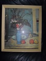 """Antik, Paul Cezanne: """"Csendélet kék vázával"""" c. festményének keretezett, üvegezett másolata 50 x 43"""
