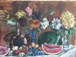 Dinnyés csendélet-tempera-ismeretlen festő-