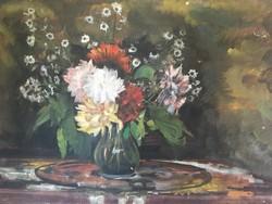"""Virágcsendélet-a """"DINNYÉS"""" csendélet párja-tempera-ismeretlen alkotó"""