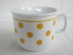 Zsolnay porcelán sárga pöttyös bögre
