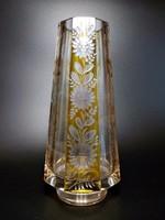 Hántolt , csiszolt , színezett  ólomkristály váza
