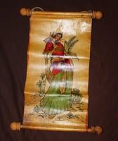 Pergamenre (bőrre) festett keleti kép.