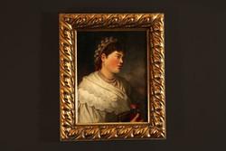 Böhm Pál (1839-1905) Fiatal Lány Gyöngyös Pártában Nő Olaj Fa 56x46cm