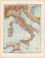 Itália, Olaszország térkép 1902, német nyelvű, atlasz, 44 x 56 cm, Moritz Perles, régi, Andrees