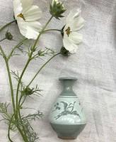 Kerámia  madár motívumos kis váza 8,5cm magas