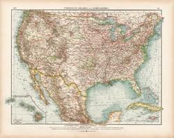 Amerikai Egyesült Államok politikai térkép 1902, német nyelvű, atlasz, 44 x 56 cm, Moritz Perles