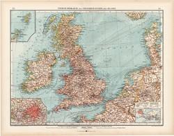 Nagy - Britannia és Írország politikai térkép 1903, német nyelvű, atlasz, 44 x 56 cm, Moritz Perles