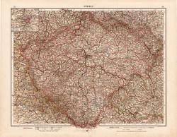 Csehország térkép 1902, Bohemia, Böhmen, német nyelvű, atlasz, Andrees, Moritz Perles, 44 x 56 cm