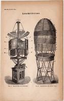 Világítótorony, egyszín nyomat 1871, német nyelvű, eredeti, világítás, szerkezet, forgó, tenger