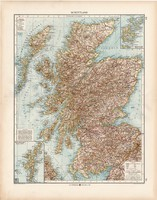 Skócia (Schottland) térkép 1902, német nyelvű, atlasz, 44 x 56 cm, Moritz Perles, észak, skót, régi