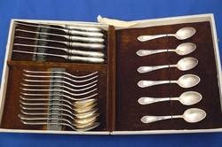 Orosz ezüstözött evőeszköz készlet 24 db eredeti dobozában