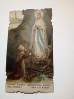 Antik lourdesi Szűz Mária kegykép imakönyvbe 1944.