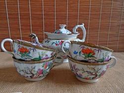 Antik Minton teáskanna négy csészével