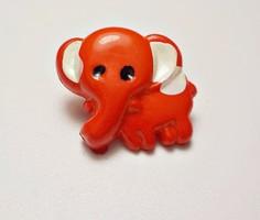 Retro piros elefánt gyermek gomb