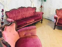 Dúsan faragott neobarokk szalon garnítúra kanapé