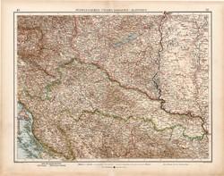 Délnyugat - Magyarország térkép 1903, német nyelvű, atlasz, 44 x 56 cm, Horvátország Szlavónia, régi