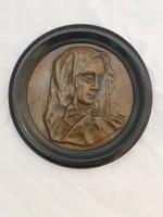 Antik Mária bronz kép, dombormű, fali plakett