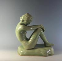 Kerámia Art Deco szép akt, celadon mázzal 25 cm