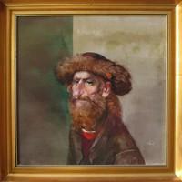 """LEÁRAZTAM! Szász Endre """"Öreg bölcs"""" 50x50 cm olajfestmény, eredeti keret, certifikáció, ingyen posta"""