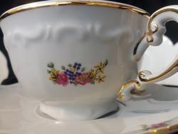 Antik Zsolnay barokk teáskészlet, virágos, hibátlan aranyozással