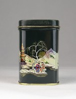 0U289 Japán mintás teafűtartó fém doboz pléh doboz