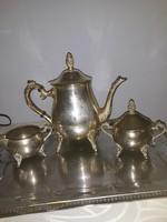 Antik  ezüstözött    teás  készlet   hibátlan    vastagon   ezüstözött    16000  ft