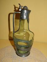 Antik ón zöld üveg betétes karaffa.