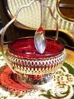 Gyönyörű, ezüstözött, áttört falú, filigrán cukorkínáló edény, hozzá illő, ezüstözött cukorkanállal